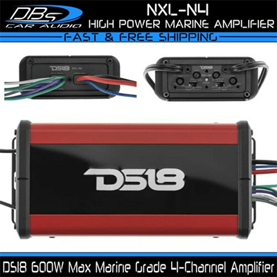 DS18 NXL-N4 Marine 4 Channel Speaker Amplifier Powersport Boat Motorcycle Amp(OUT OF STOCK)