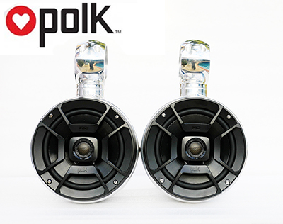Pair of 6.5in single pods Polk DB652 300Watt marine speakers installed (for US lower 48 states only)