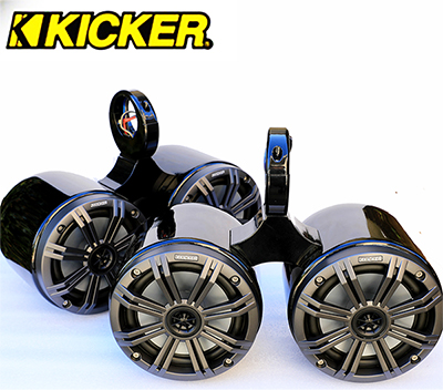 Pair of Twin Black Coated Bullet Speaker Pods Kicker KM654CW Marine Speaker Installed